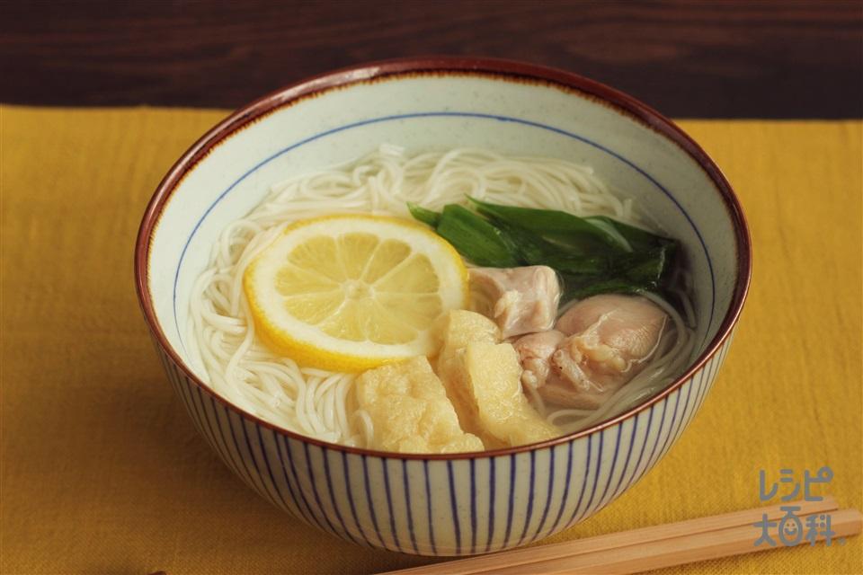 鶏だし・うま塩にゅうめん(そうめん+鶏もも肉を使ったレシピ)