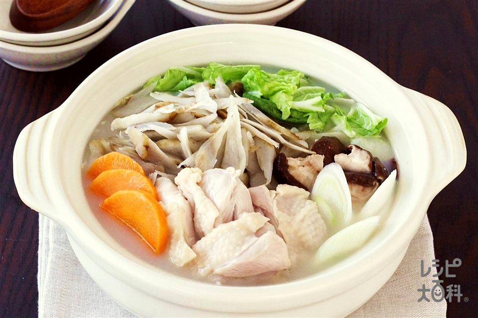 ごぼうたっぷり白湯鍋(鶏もも肉+ごぼうを使ったレシピ)