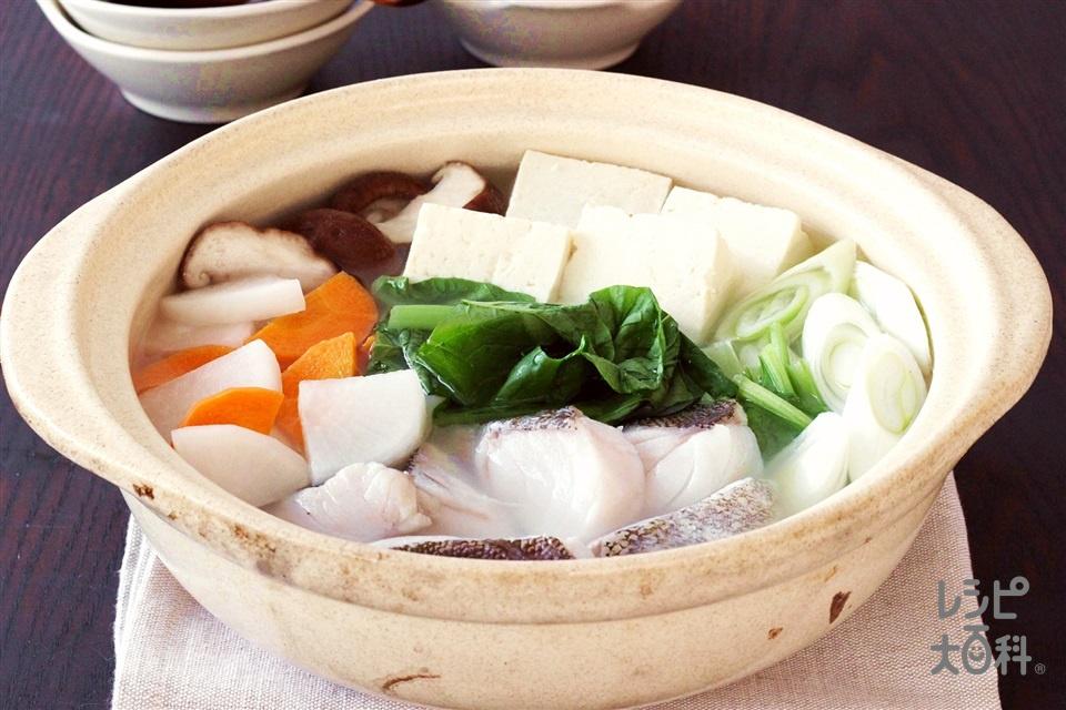 たっぷり野菜のうま塩鍋(たら+木綿豆腐を使ったレシピ)