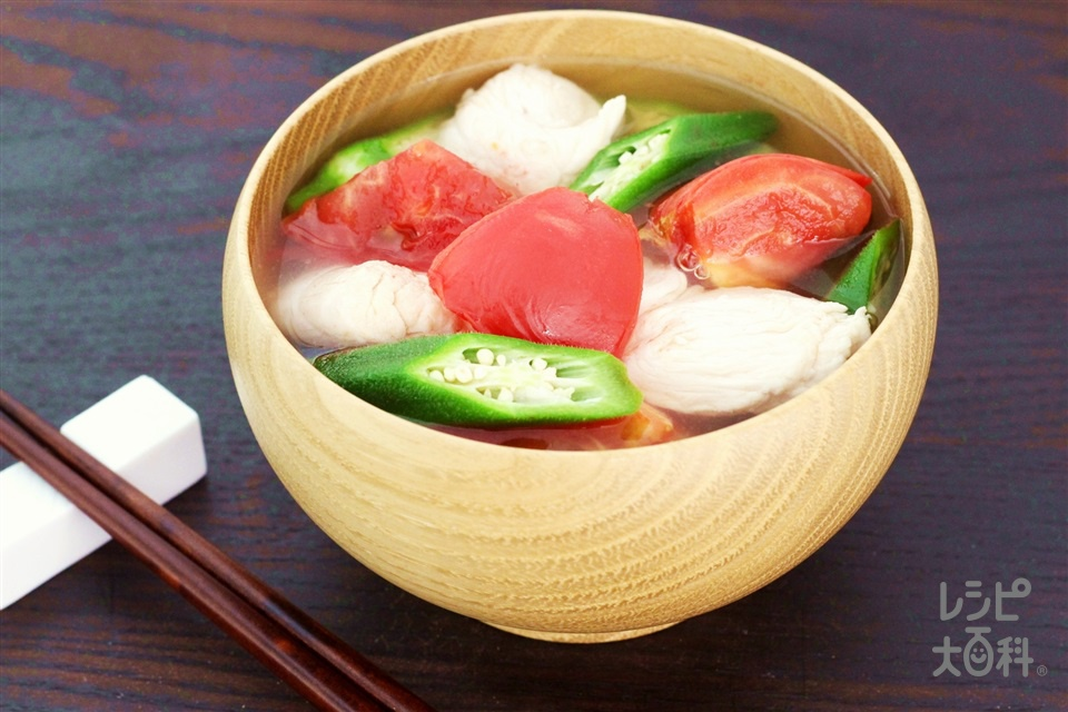 トマトとオクラの冷たいうま塩汁(鶏ささ身+トマトを使ったレシピ)