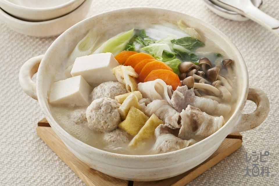 まろやか豆乳鍋(豚バラ薄切り肉+白菜を使ったレシピ)
