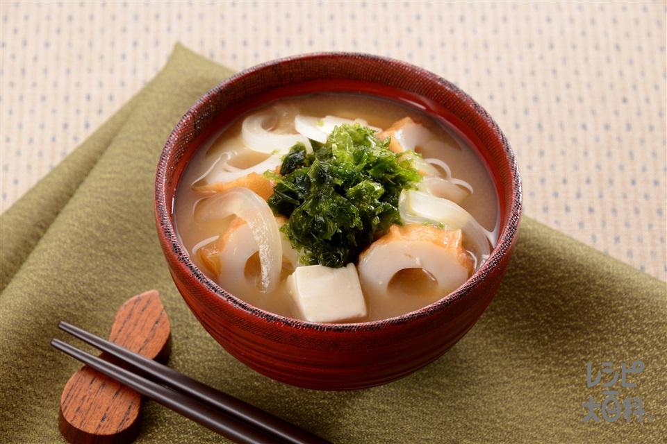 あおさと玉ねぎのみそ汁(あおさ+絹ごし豆腐を使ったレシピ)