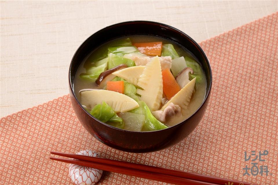 春まるごと豚汁(豚バラ薄切り肉+大根を使ったレシピ)