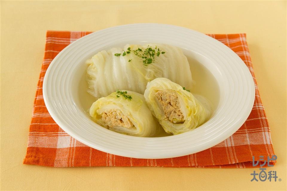 白菜ロール(白菜+鶏ひき肉を使ったレシピ)