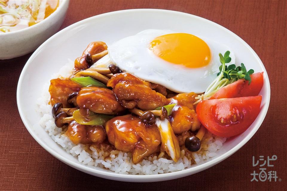 ガリバタ鶏ロコモコ丼(鶏もも肉+ご飯を使ったレシピ)