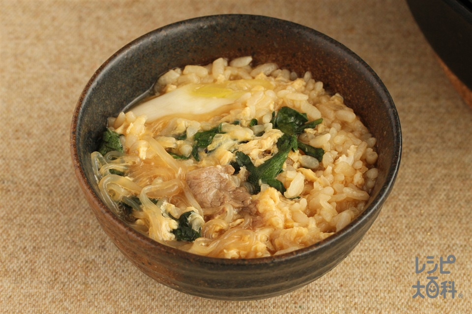 すき焼き鍋シメ雑炊(ご飯+溶き卵を使ったレシピ)