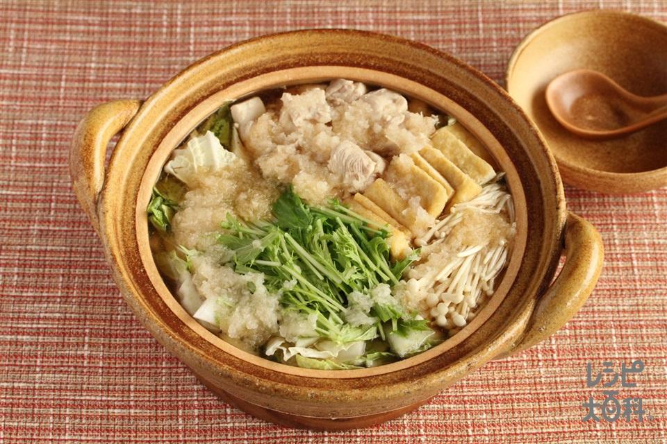 みぞれ鍋(鶏もも肉+水菜を使ったレシピ)