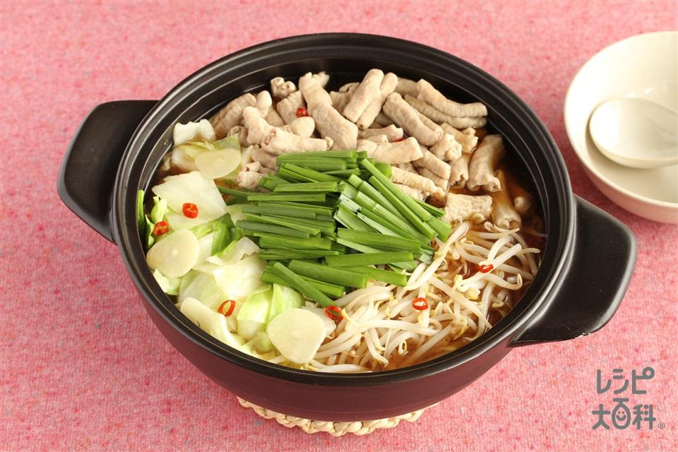 もつ鍋(醤油)(豚モツ+キャベツを使ったレシピ)