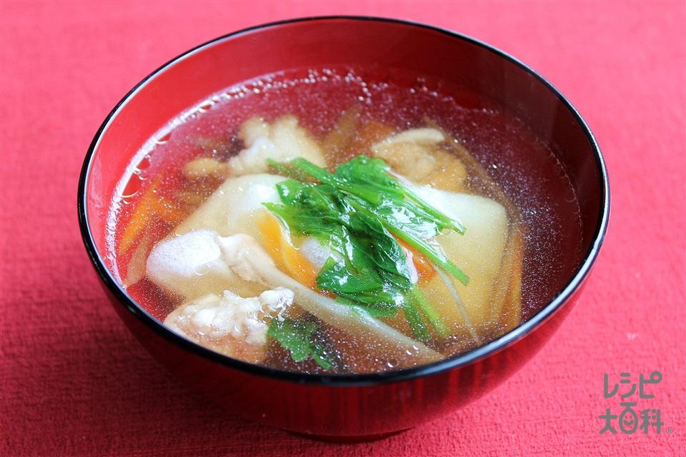 秋田風雑煮(切り餅+鶏もも肉を使ったレシピ)