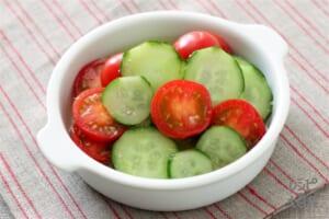 きゅうりとミニトマトの甘酢和え