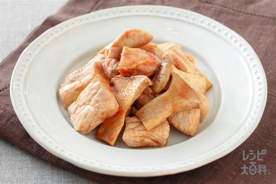 ポークケチャップ(豚ロース肉(厚切り)+エリンギを使ったレシピ)