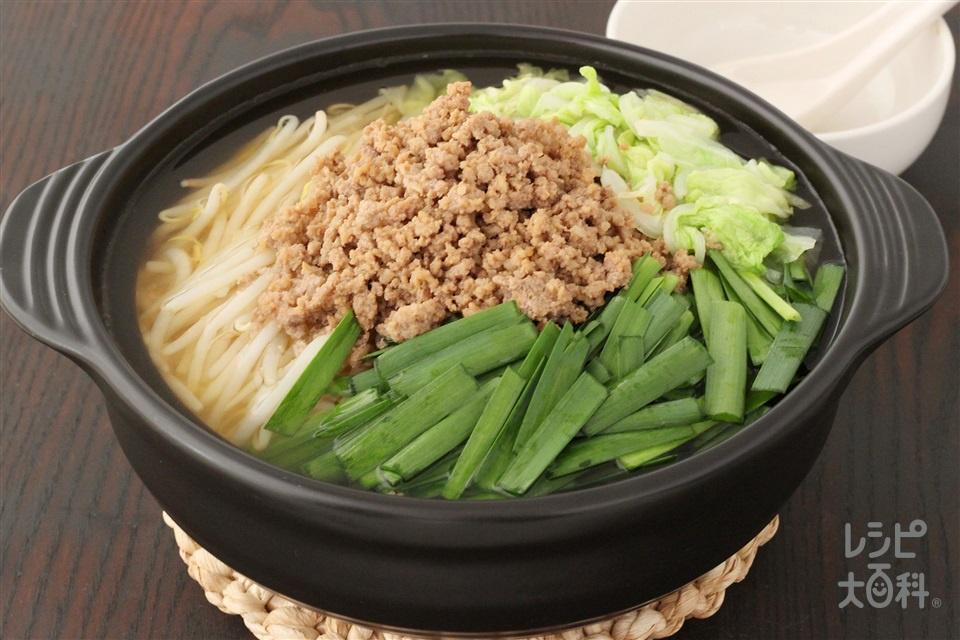 〆もおいしい!にらともやしのコンソメ鍋(豚ひき肉+白菜を使ったレシピ)