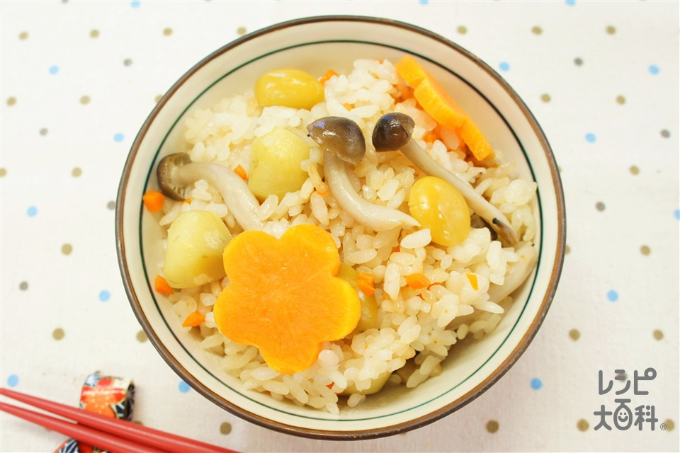 秋の炊き込みご飯(米+にんじんを使ったレシピ)