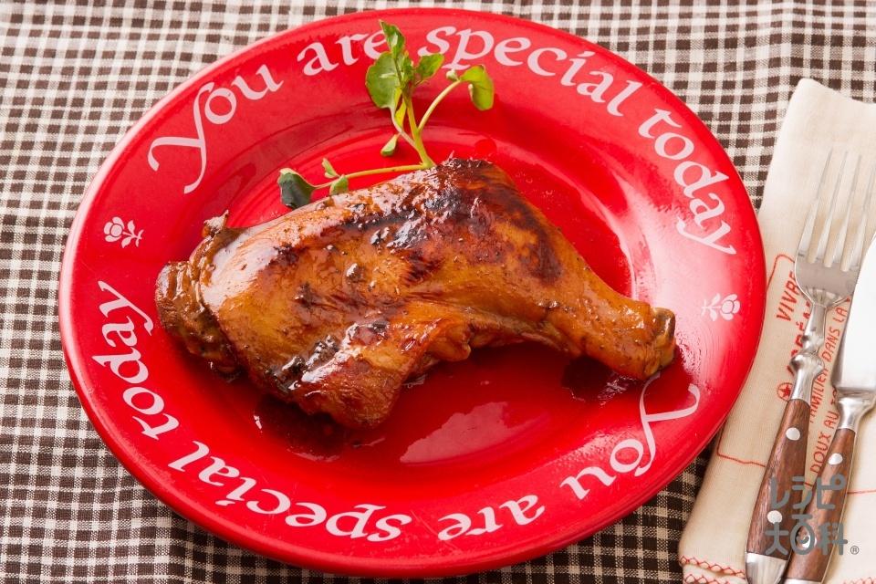 フライパンで簡単!ローストチキン(鶏骨つきもも肉+砂糖を使ったレシピ)