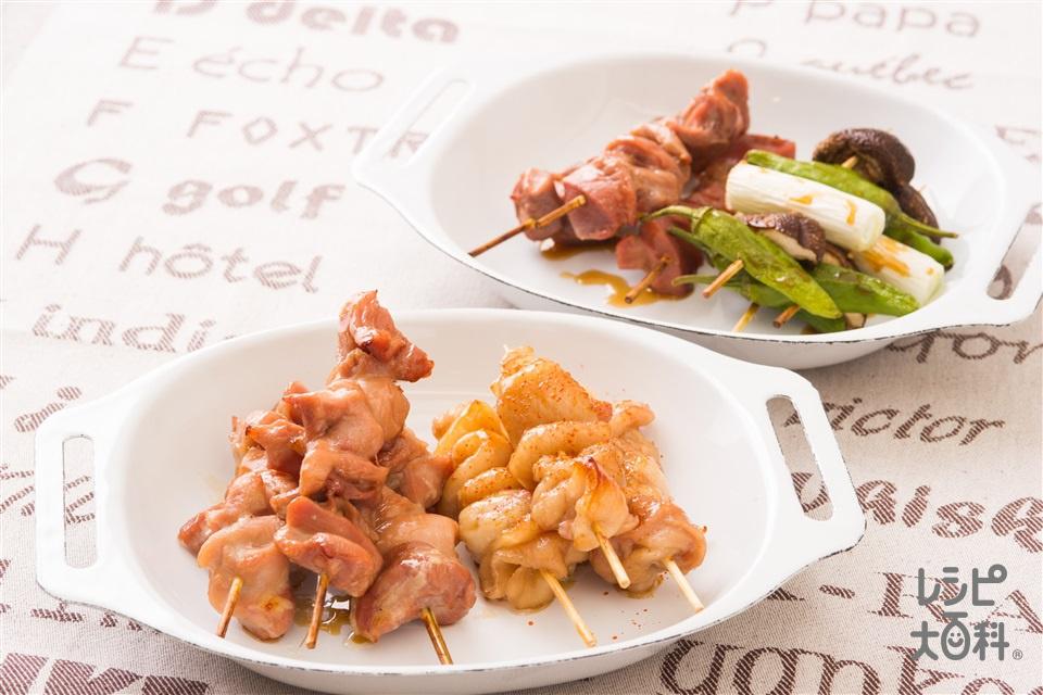 焼き鳥バリエ(鶏砂肝+鶏もも肉を使ったレシピ)