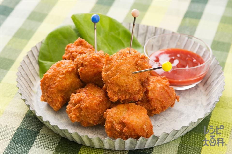 ナゲット風鶏むね肉のから揚げ(鶏むね肉+溶き卵を使ったレシピ)