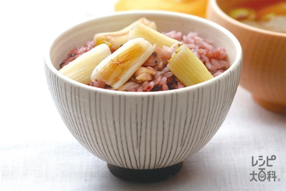 仙台曲がりねぎたっぷり黒米入り炊き込み御飯(米+黒米を使ったレシピ)