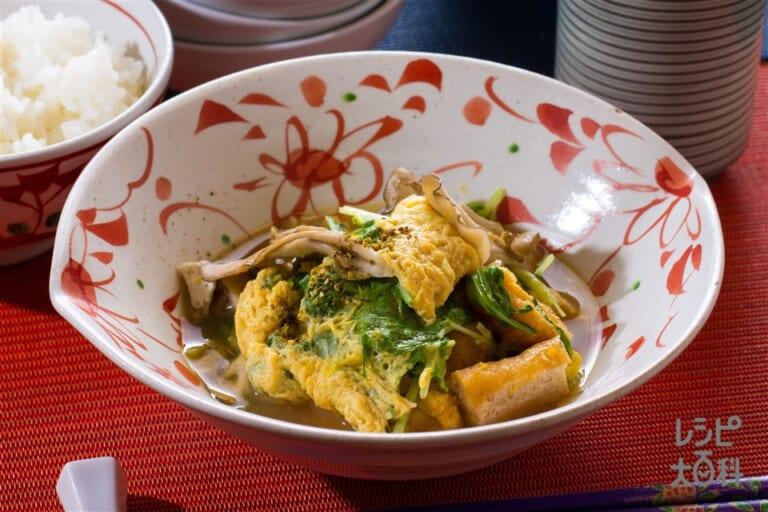 越前水菜と厚揚げの卵とじ
