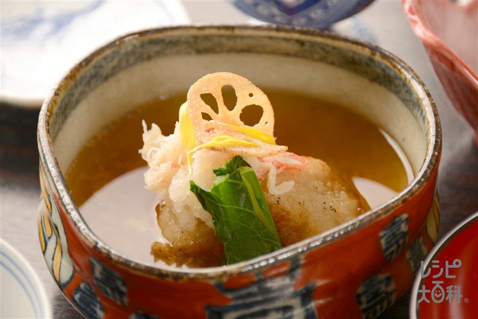 レンコン餅とワタリガニの揚げ出し(れんこん+大根おろしを使ったレシピ)