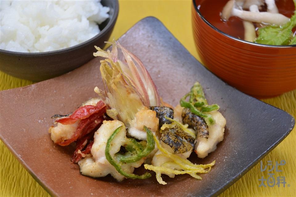 今が旬!うつぼの土佐流彩りかき揚げ(うつぼ(切り身)+さつまいもを使ったレシピ)