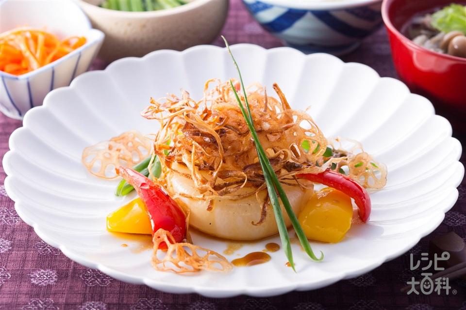 和風大根ステーキ 根菜チップ添え(大根+パプリカ(赤)を使ったレシピ)