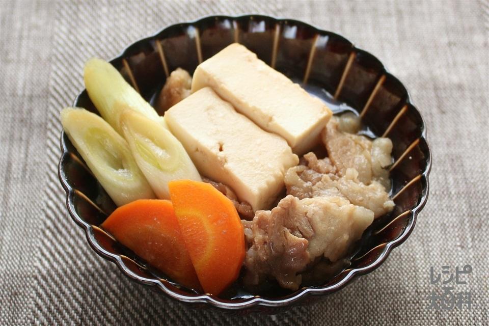 豚のすきやき風肉豆腐(豚バラ薄切り肉+長ねぎを使ったレシピ)
