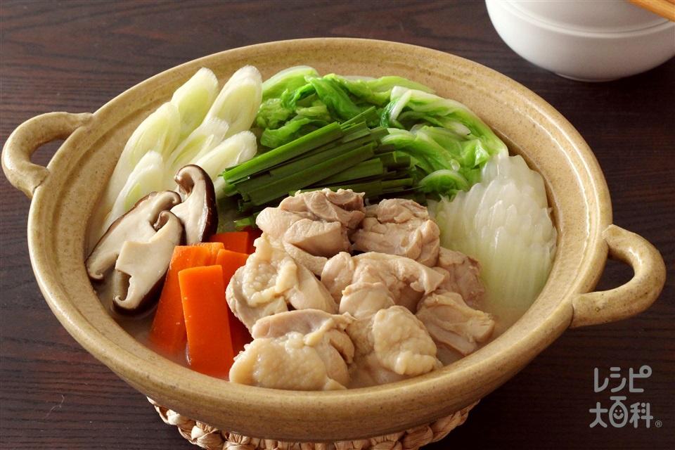 濃厚!しょうゆ白湯鍋(鶏もも肉+白菜を使ったレシピ)