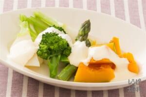 レンチン温野菜のコンソメ和え シーザーソースがけ