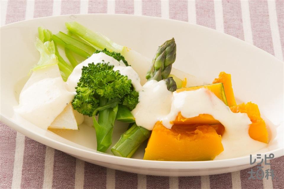 レンチン温野菜のコンソメ和え シーザーソースがけ(かぼちゃ+かぶを使ったレシピ)