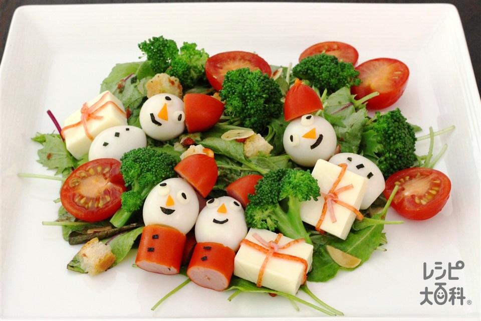 デコレーションクリスマスサラダ(ベビーリーフ+ミニトマトを使ったレシピ)