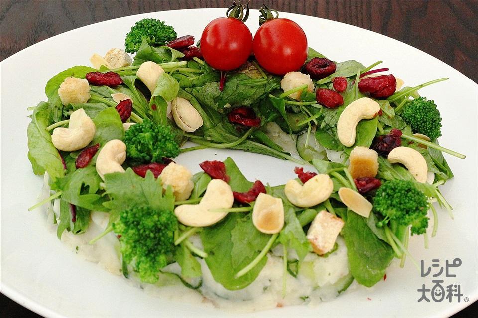 ベビーリーフのリースサラダ(じゃがいも+「Toss Sala」モッツァレラとトマトのイタリアンサラダ用を使ったレシピ)