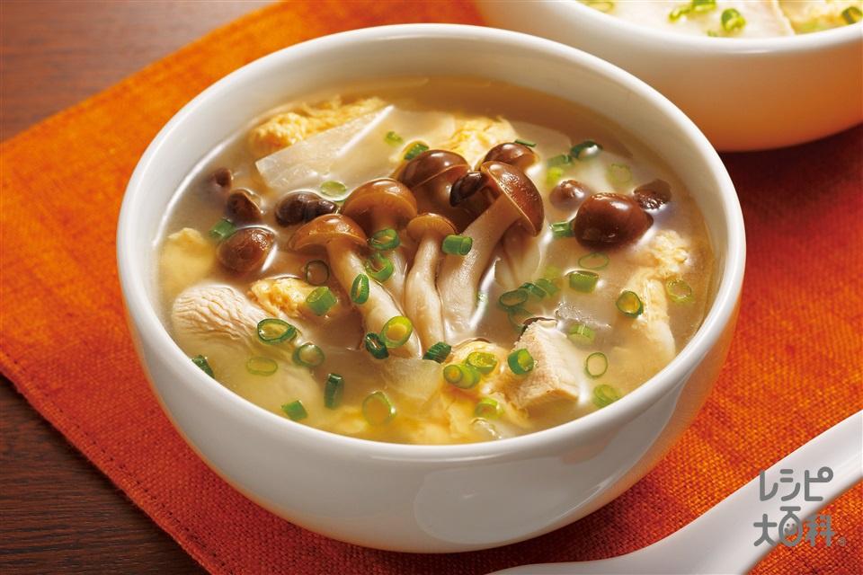 鶏肉とたっぷりしめじの中華スープ(しめじ+鶏むね肉を使ったレシピ)