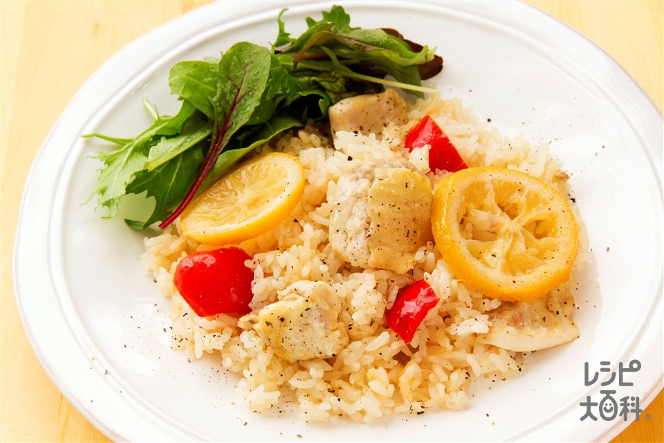 炊き込みチキンレモンライス(米+A水を使ったレシピ)
