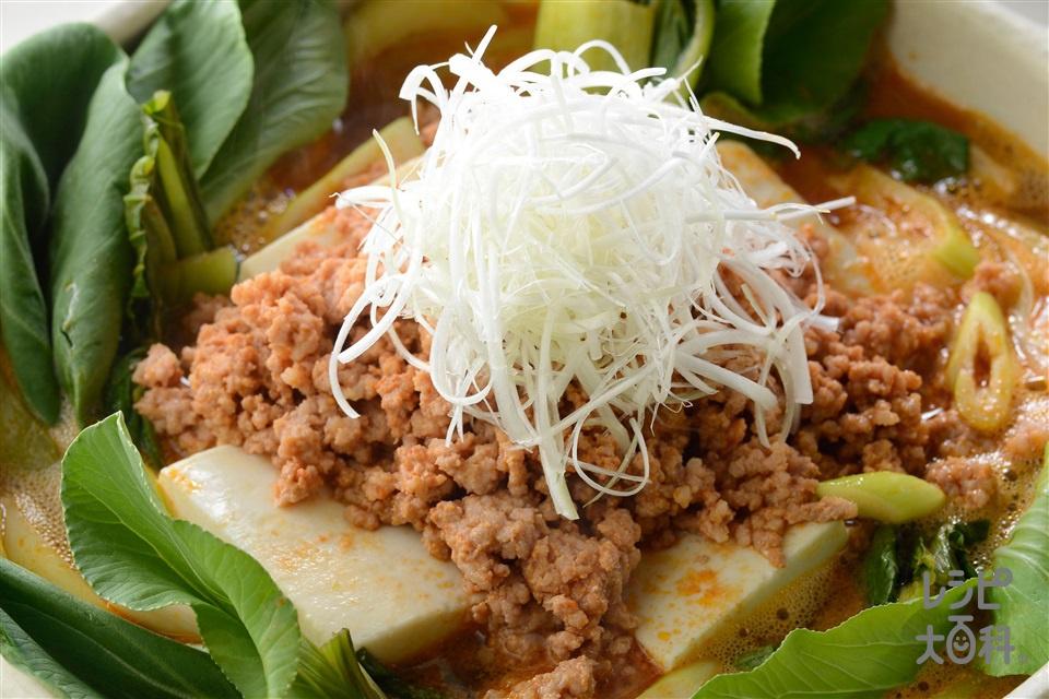 ごまキムチ鍋坦々風(豚ひき肉+絹ごし豆腐を使ったレシピ)