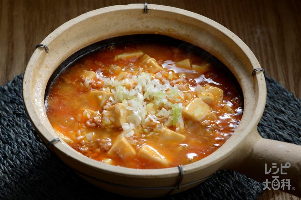 キムチ風味のマーボー豆腐(絹ごし豆腐+豚ひき肉を使ったレシピ)