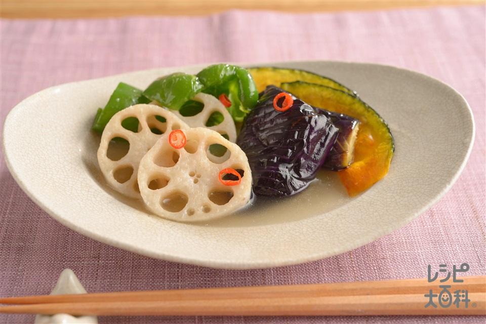 揚げ野菜のだし浸し(なす+ピーマンを使ったレシピ)