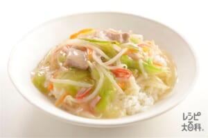 シャキとろ中華丼(袋入りカット野菜(キャベツミックス)+ご飯を使ったレシピ)