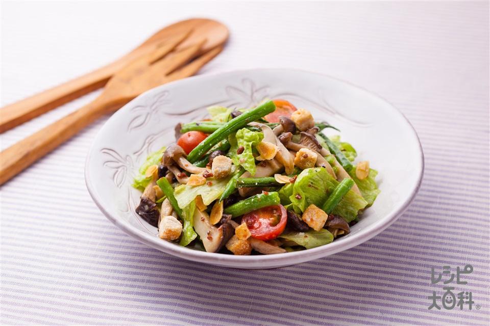 香ばしキノコといんげんのトスサラダ(しめじ+エリンギを使ったレシピ)