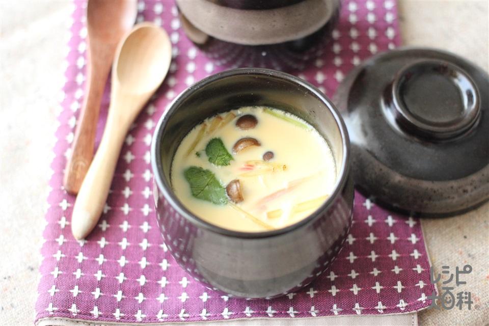 鶏&帆立のWだし!かんたん茶碗蒸し(卵+しめじを使ったレシピ)