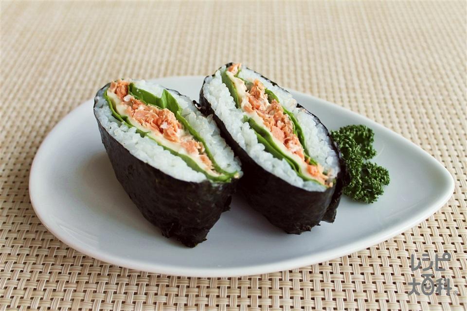 おにぎらず 鮭フレーク(ご飯+スライスチーズを使ったレシピ)
