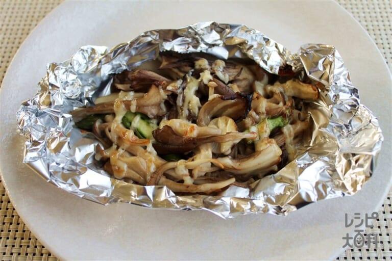 キノコとアスパラの味噌マヨホイル焼き