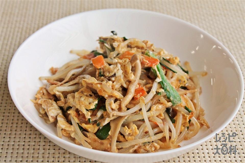 カット野菜の簡単ニラ玉(袋入りカット野菜(にらもやしミックス)+卵を使ったレシピ)
