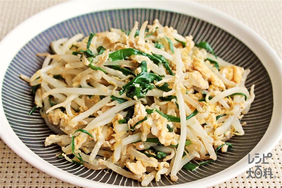カット野菜の簡単ダシニラ玉(袋入りカット野菜(にらもやしミックス)+卵を使ったレシピ)