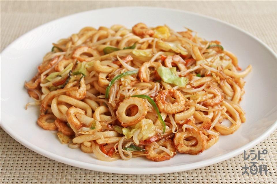 カット野菜のちくわ焼きうどん(ゆでうどん+袋入りカット野菜(キャベツミックス)を使ったレシピ)