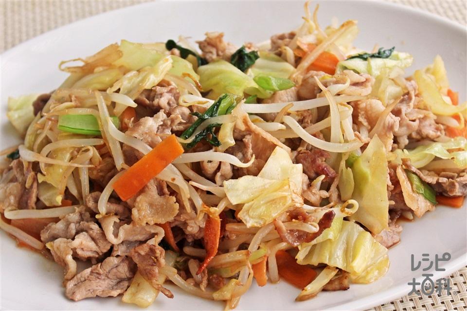 豚肉とカット野菜炒め(豚こま切れ肉+袋入りカット野菜(キャベツミックス)を使ったレシピ)