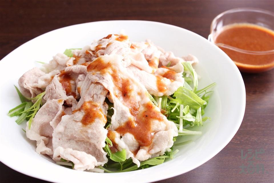 怪味ソースがけ豚しゃぶサラダ(豚しゃぶしゃぶ用肉+水菜を使ったレシピ)