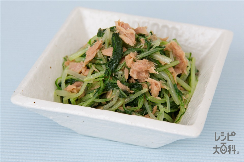 水菜とツナのしょうゆあえ(水菜+ツナ油漬缶を使ったレシピ)