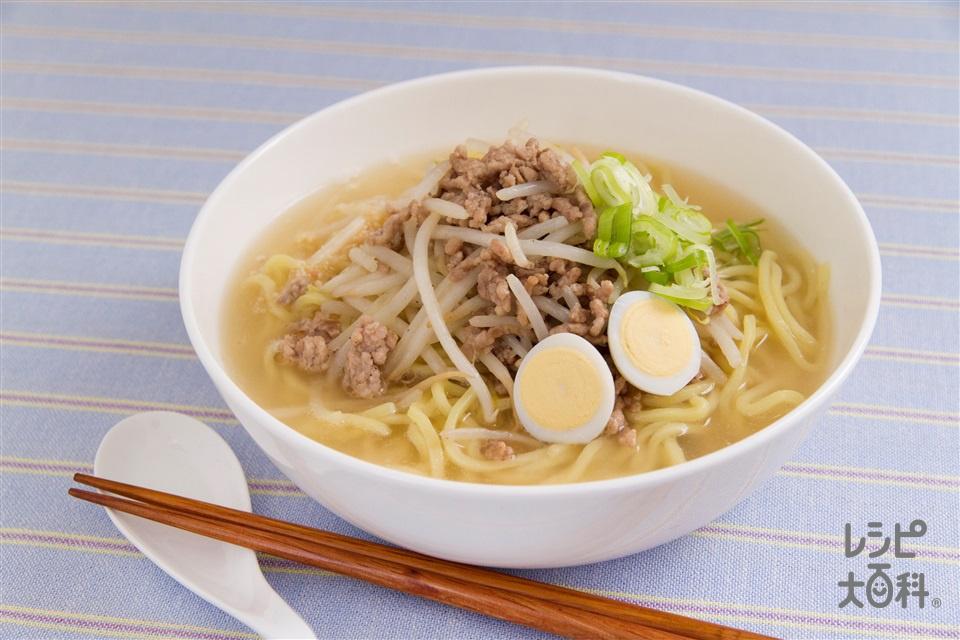 楽々味噌ラーメン(中華生めん+豚ひき肉を使ったレシピ)