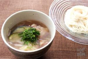 鶏と帆立のだしつけそうめん(そうめん+豚バラ薄切り肉を使ったレシピ)