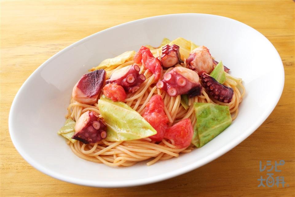 タコとキャベツのアラビアータ風(スパゲッティ+トマトを使ったレシピ)